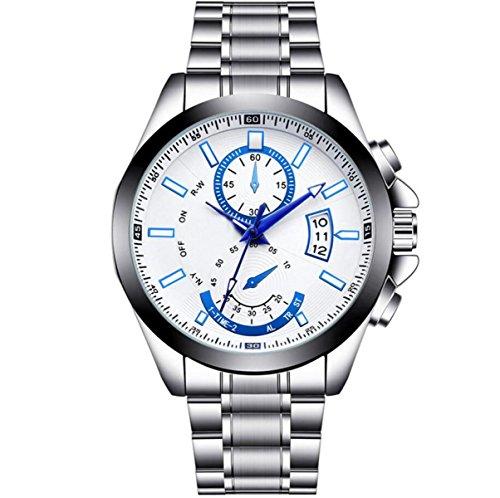 YXMAHW Männer Große Wählscheibe Stahl Nicht-mechanische Uhrwerk Wasserdicht Zeiger Kalenderuhr Shi Ying Uhr,White3-OneSize
