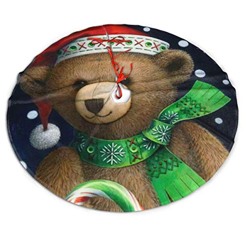 AEMAPE Christmas Cute Bear Tree Brown Sugar Cane Themed Round Christmas Xmas Tree Skirt Carpet Mat Rugs Pad Party Favors Supplies Home Ornament Decoration 36'