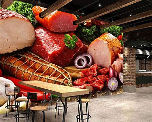 ZJfong Gebruikergedefinieerde vlees ham en worst eten 3d behang woonkamer keuken fast-food-winkel restaurant bar muurschildering 330 x 210 cm.