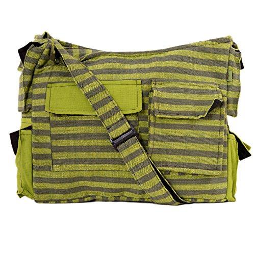 Vishes - Gestreifte Umhängetasche aus handgewebter Baumwolle (Grün)