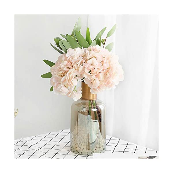 Jasion Artificial Flowers Hydrangeas Flowers 5 Big Heads Silk Bouquet for Office Home Party Decoration