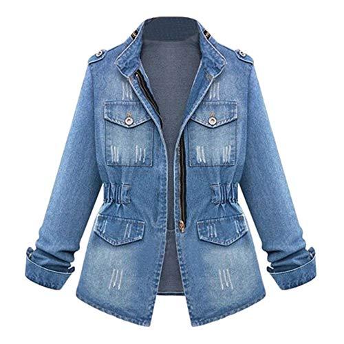 Chaink_1 Damen Denim-Jacke Übergröße, langärmelig, Übergröße, Jeansjacke, Winterjacke, warm, modisch, lässig, mit Kette, Denim-Outwear mit Taschen, S-5XL Gr. Small, blau