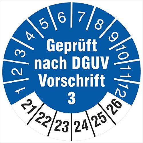 100 Prüfplaketten 30 mm geprüft nach DGUV Vorschrift 3 2021-2026 Prüfetiketten