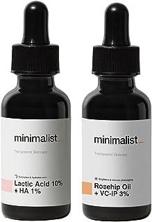 Minimalist De Tan Kit For Men & Women | Lactic Acid (AHA) Exfoliating Serum & Rosehip Oil + Vitamin C Glow Serum Combo