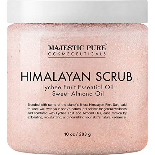 Majestic Pure Himalayan Salt Body Scrub with Lychee Oil, Exfoliating Salt Scrub...