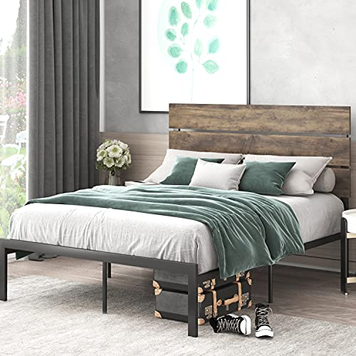 Allewie Queen Size Platform Bed Frame with Wood headboard and Metal Slats / Rustic Country Style Mattress Foundation / Box Spring Optional / Strong Metal Slats Support / Easy Assembly