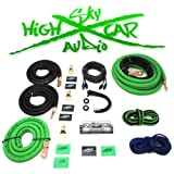 Dual Amp Kit Sky High Car Audio 1/0 to Dual 4 Gauge Complete Amp Kit (Green/Black)