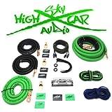 Dual Amp Kit Sky High Car Audio 1/0 to Dual 4 Gauge Complete Amp Kit (Green/Black)
