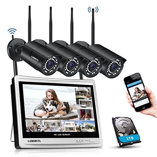 DEATTI Set di telecamere di sorveglianza WLAN 8CH 1080P con monitor LCD da 12', 2,0 megapixel, sistema di sorveglianza NVR, con 4 telecamere IP WLAN da 1080p, preinstallate, disco rigido da 1TB