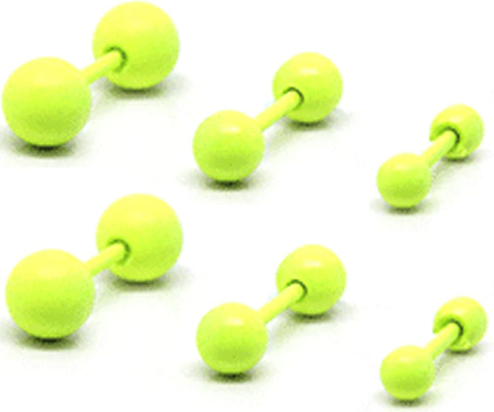 Thenice 3 Pair 1.2mm 16g Peas Barbell Candy Fluorescent Colored Balls Earrings Ear Studs (Yellow)