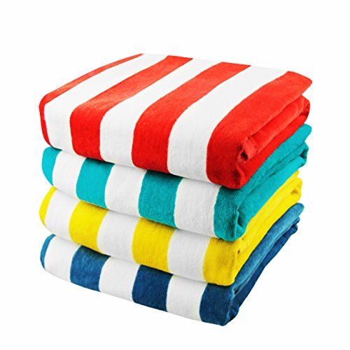 "Exclusivo Mezcla 4-Pack 100% Cotton Cabana Striped Beach/Pool/Bath Towel(30"" x 60"")—Soft, Quick Dry, Lightweight, Absorbent and Plush"
