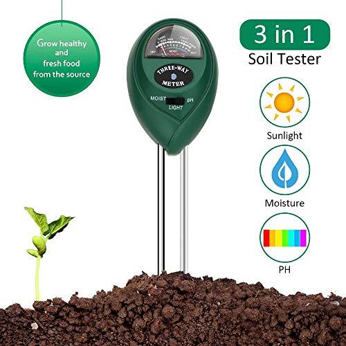 Garden Kuman Testeurs de Sol 3 in 1 Garden Soil Tester Plant Moisture Sensor Meter Light PH Soil Test Kit for Home Lawn Indoor /& Outdoor Use-No Battery Needed KP03 Farm