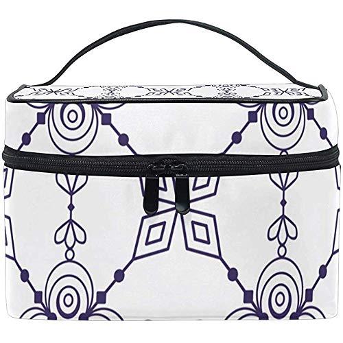 Make-up tas etnische geometrie wit draagbare cosmetische toiletborstel tas reizen trein case organisator doos zak