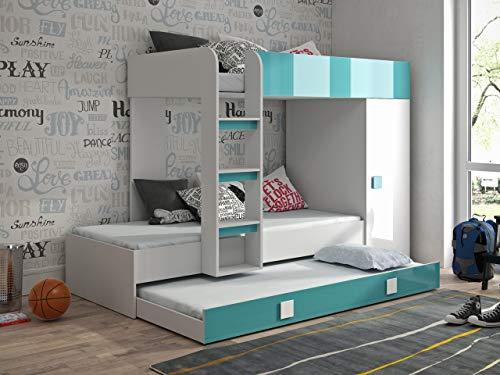 Etagenbett für Kinder TOLEDO 2 Stockbett mit Treppe und Bettkasten KRYSPOL (Weiß + Türkisglanz)