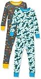 Amazon Essentials Boys' Snug-Fit Cotton Pajamas Sleepwear Sets, 4-Piece Camo Dino/Tigers Set, Medium