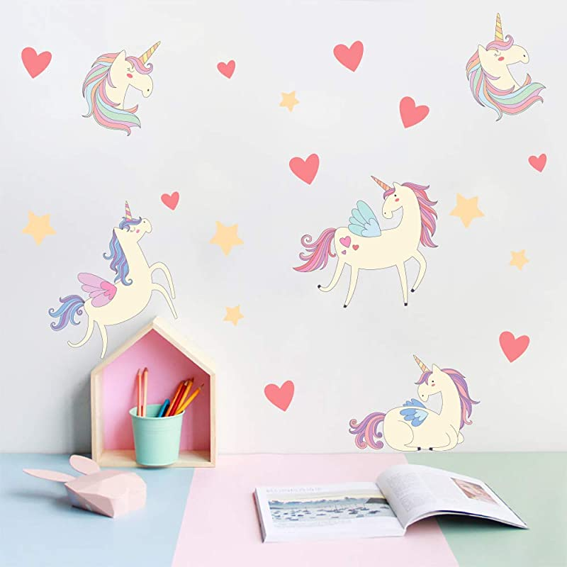 Manruo Kids Wall Sticker Wall Decals Cute Flying Unicorn Heart Star Removable Wall Stickers For Nursery Bedroom Living Room
