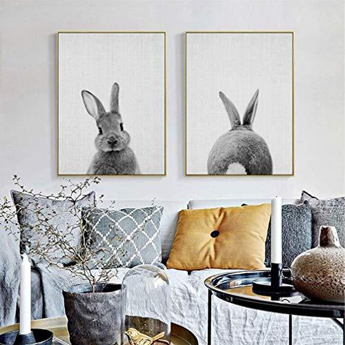 MINRAN DECOR Impresión de Lienzo Conejo Lindo de la habitación de los niños Animales Modernos Cuadros De Arte De La Pared,2,30x40cm