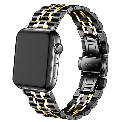 DEALELE - Reloj Inteligente Compatible con iWatch Apple Watch Series 4/3/2/1 (38 mm, 42 mm, 40 mm, 44 mm, Acero Inoxidable sólido)
