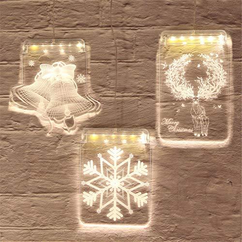 3 stuks kerstlampen, creatieve aan de muur bevestigde nachtlampjes voor het interieur van de kinderfeestdagen