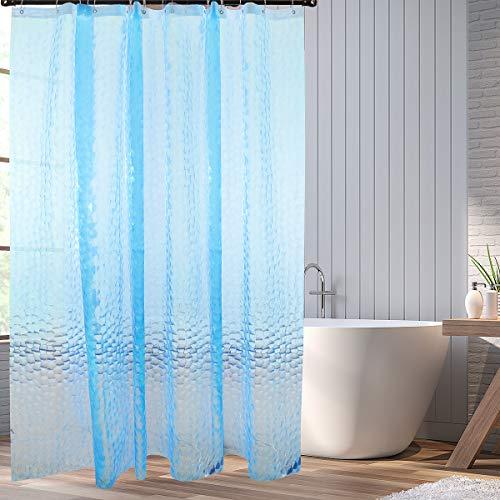 HOMMINI Duschvorhang Anti Schimmel PEVA Badewannenvorhang Anti bakteriell 3D Wasserwürfel Duschvorhänge Halb-transparent Shower Curtains mit 12 Vorhangring-180 x 200 cm(Blau)
