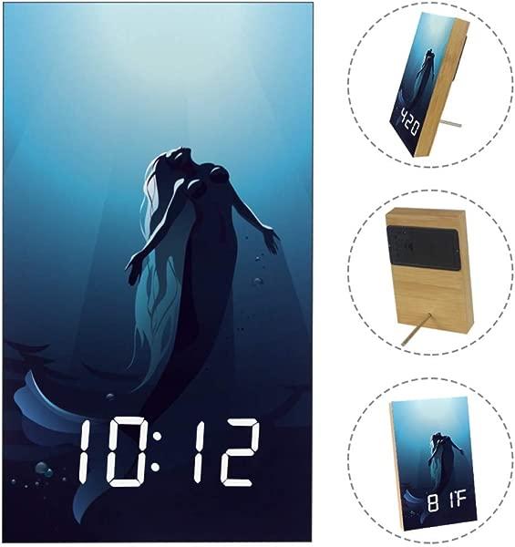 Mermaid Digital Alarm Clock Display Time Temperature Date LED Decorative Clock