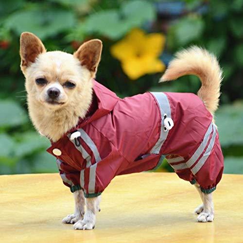 Pet Dog Raincoat, Vêtements Pour Chiens Imperméables Pour Petits Chiens, Veste Pet Raincoat, Veste Imperméable Avec Bande De Sécurité Réfléchissant Avec Capuchon, Pet Supplies,Rouge,M