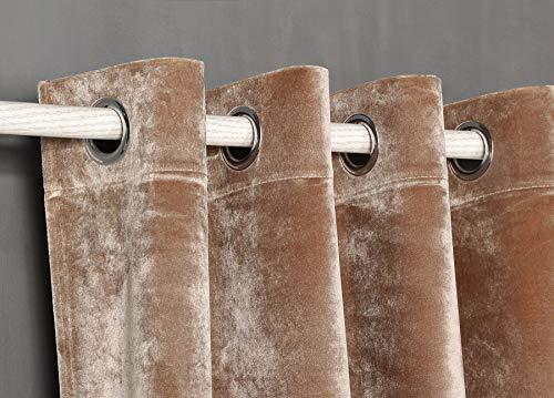 PimpamTex Cortina Terciopelo Opaca térmica Aislante para salón Dormitorio y habitación, con 8 Ojales, 1 Unidad 140 x 260 cm, Modelo Terciopelo Color Piedra