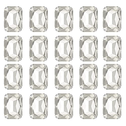 JIHUOO 50 piezas rectangulares para coser en diamantes de imitación, garra de cristal de diamantes de imitación, para zapatos, ropa, pendientes, color blanco