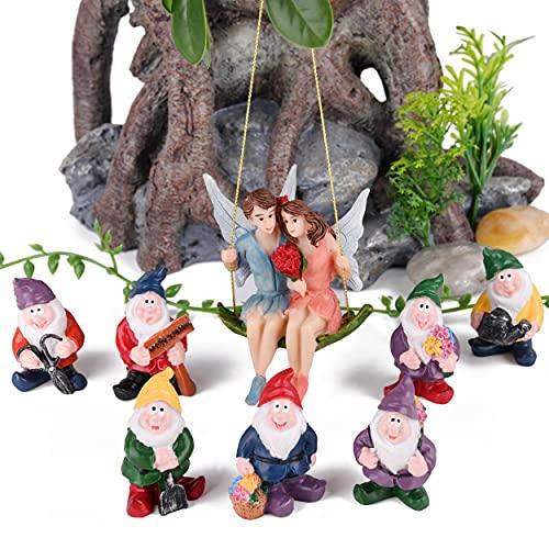 VAINECHAY Decoración para el hogar, estatua de jardín al aire libre, decoración de jardín en miniatura, adornos de hadas de resina, figuras de gnomo, estatua de regalo para patio, césped, patio