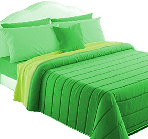 il mitico di irge Trapunta Invernale Double Face Singolo Verde/Lime Made in Italy