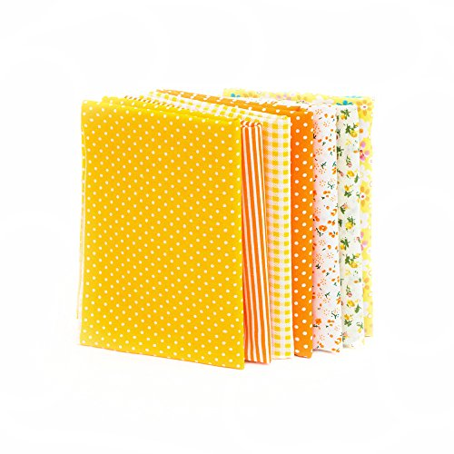 Artibetter 7pcs Small Fabric Bundles Floral Quilting Sewing Cotton Fabric Precut Squares for DIY Sewing Scrapbooking Yellow