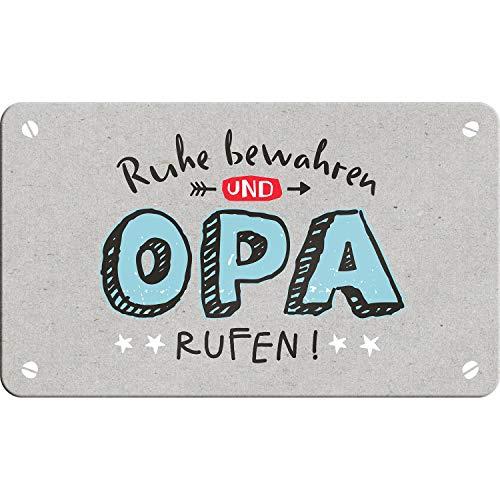 Happy Life 46132 Schneidebrettchen mit Spruch Ruhe bewahren und Opa rufen, Resopal-Brettchen, Grau, Hellblau