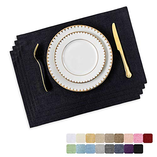 Home Brilliant Decor Placemats Set of 4 Heat Resistant Dining Table Place Mats Kitchen Table Mats, Black