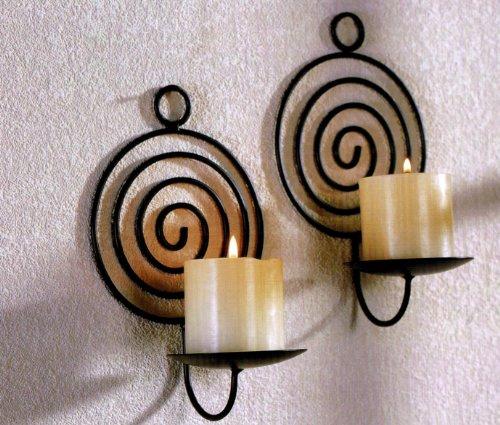 2 Stück Wandkerzenhalter Spirale schwarz Metall Wand Kerzen Halter Leuchter 2er Set Kerzenhalter Kerzenleuchter