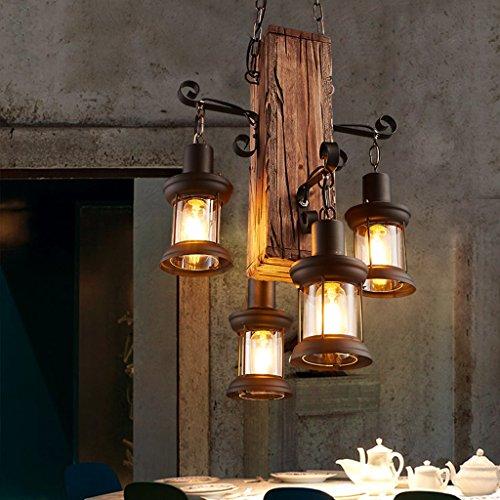 JPVGIA Lámparas industriales de la vendimia, barra creativa del restaurante del barco de madera 4 lámparas de cabeza