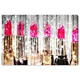 The Oliver Gal Artist Co. Fashion and Glam Wall Art Canvas Prints 'Lipstick Collection' Home Décor, 36' x 24', Pink, Gold