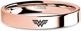 Wonder Woman Logo Symbol Rose Gold Tungsten Wedding Band - 4 mm