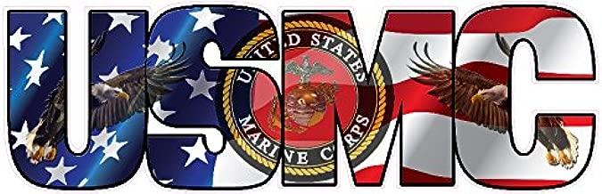 USMC Marine Corps American Flag Eagle Lettering Sticker 6 INCH
