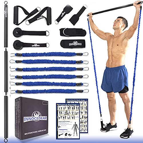 INNOCEDAR Home Gym Bar Kit with Resistance Bands,Full Body Workout,60-180LBS Adjustable Pilates Bar,Safe Exercise Weight Set,Home Exercise Equipment for Men&Women- Build Muscle&Training Fitness