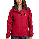 Cherrybrook Dog Breed Embroidered Ladies Rain Jackets - X-Large - Radish and Steel Gray - Welsh Terrier