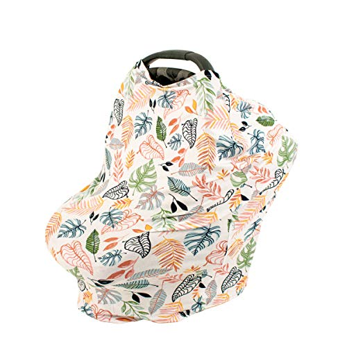 Bebe au Lait 5-in-1 Cover - Infinity Scarf, Car Seat Cover, Shopping Cart Cover, Carrier Cover and Nursing Cover -Tropicana