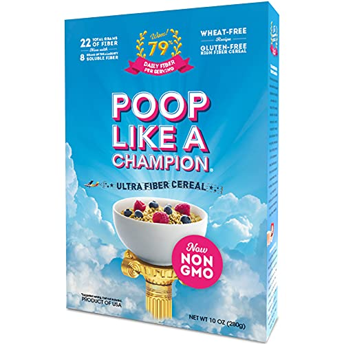 Poop Like A Champion Healthy Choice Ultra High Fiber Cereal - A Low Carb Food, Keto Friendly Food & Fiber Supplement | Breakfast Essentials with Soluble Fiber, Insoluble Fiber & Psyllium Husk Powder