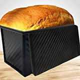 Pullman loaf pan with lid, Bread pans for baking toast mold or sandwich loaf, banana bread or sourdough, bread pan with lid by Oak and Noble Black