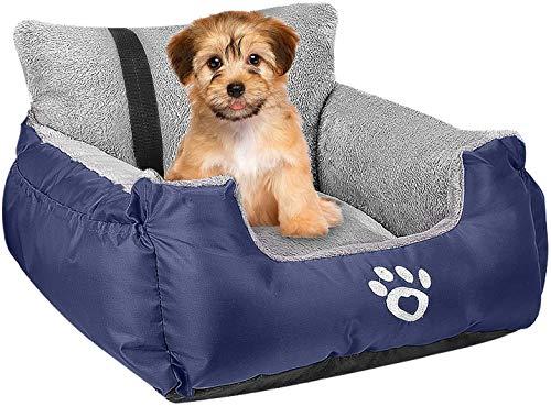 FRISTONE Asiento de coche para perros pequeños, asiento de seguridad para perros, bulldog salchicha, cama de viaje elevada, con correa de seguridad y bolsa de almacenamiento, azul marino