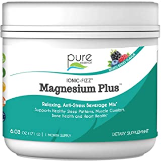 Pure Essence Labs Ionic Fizz Magnesium Plus - Calm Sleep Aid and Natural Anti Stress Supplement Powder - Mixed Berry - 6.0...