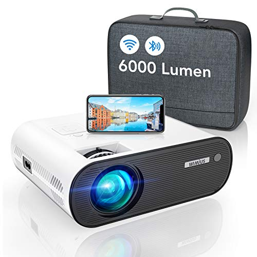 WiMiUS Proiettore WiFi Bluetooth, 6000 Lumen Mini Videoproiettore Portatile 1080P Full HD Proiettore Home Cinema Wireless WiFi Compatibile iOS,Android,Laptop,PS4 (Borsa per proiettore Inclusa)