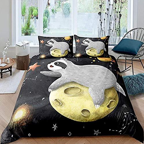 HSBZLH - Set di biancheria da letto in morbida microfibra, 3 pezzi, con simpatici cartoni animati, motivo: cielo stellato e galassia universo cielo stellato, set di copripiumino in morbida microfibra