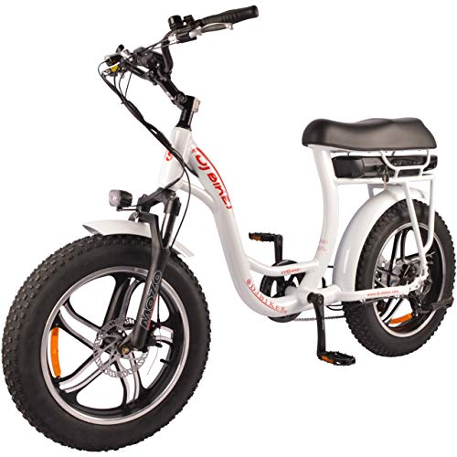 DJ Super Bike Step Thru 500W 48V 13Ah Power Electric Bicycle, Pearl White, LED Bike Light, Suspension Fork and Shimano Gear