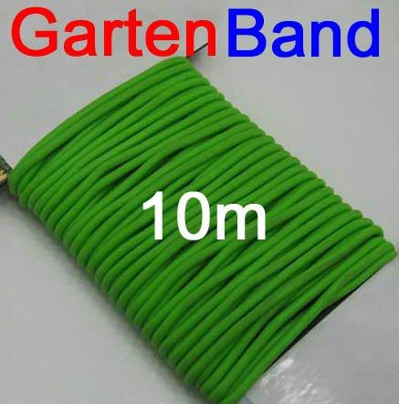 Multifunctionele tuinband met rubber 10 m lengte, tuin huishouden draad band koord, groen (LHS)
