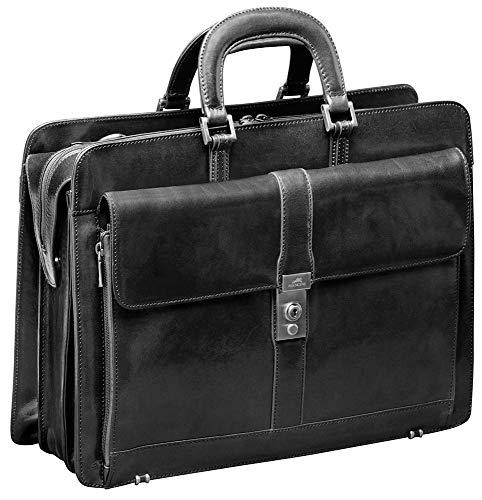 Mancini SIGNATURE Luxurious Italian Leather 17.3' Laptop Briefcase in Black